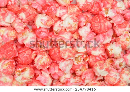 pink candy popcorn - stock photo