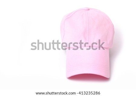 pink cap isolated on white background - stock photo
