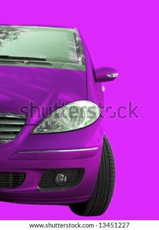 Pink car isolated on pink - stock photo