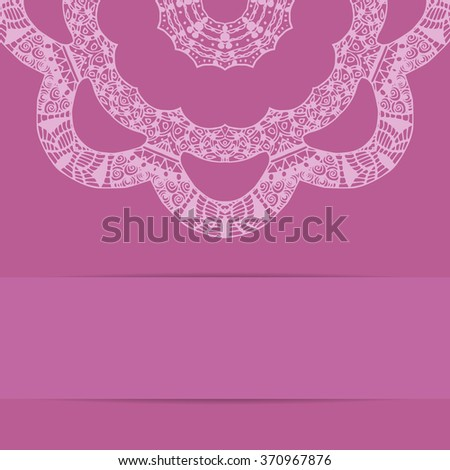 Pink card with decorative round ornate pattern zentangle style and copy space below - stock photo