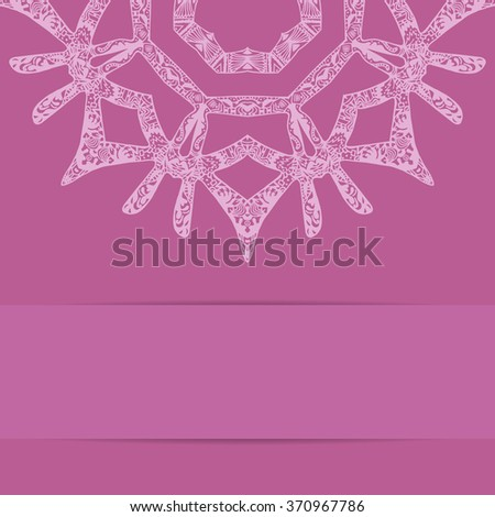 Pink card with ornate pattern and copy space. Zentangle and handdrawn style - stock photo