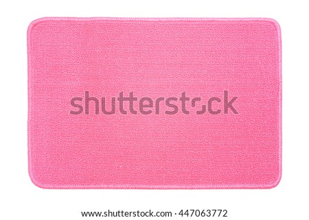 pink carpet on white background, top view - stock photo