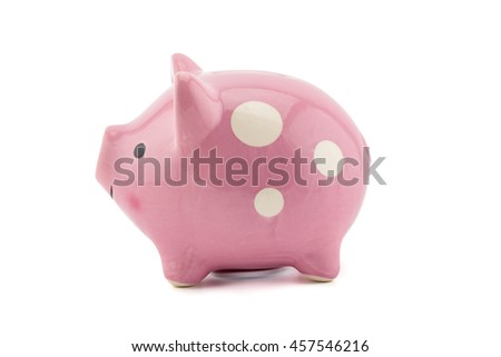 pink ceramic piggy bank isolated on white background, clipping part - stock photo