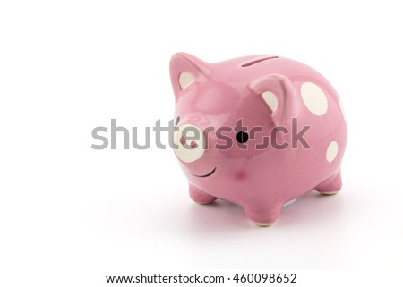 pink ceramic piggy bank isolated on white background, clipping part