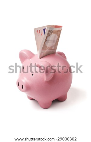 pink ceramic piggy bank with ten euro bill isolated on white