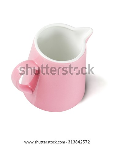 Pink Ceramic Pitcher on White Background - stock photo