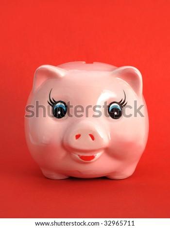 Pink ceramics  piggy - stock photo