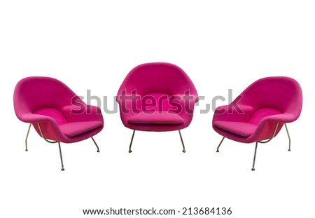 pink chairs isolated with paths - stock photo
