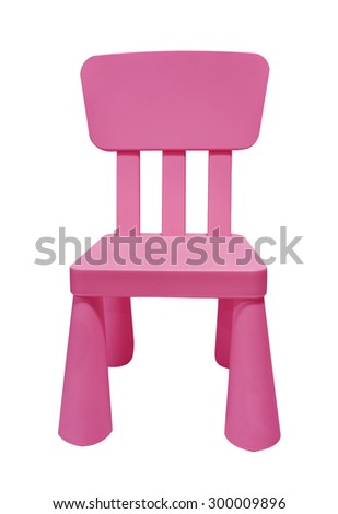 Pink child plastic chair isolated on white background - stock photo