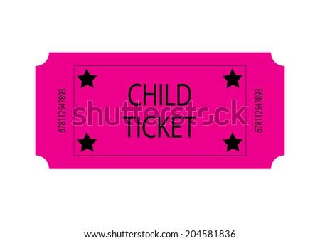 Pink Child Ticket - stock photo