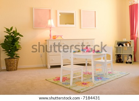 Pink children's playroom - stock photo