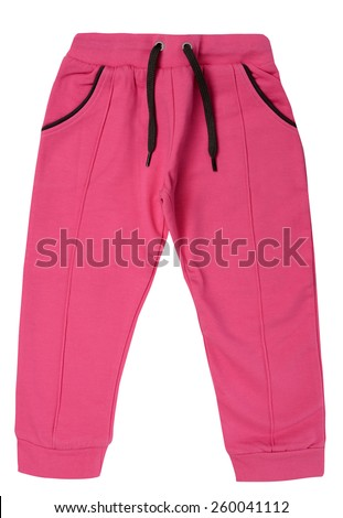 Pink children's sweatpants isolated on a white background - stock photo