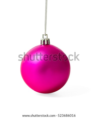 Pink Christmas ball with shadow on white background