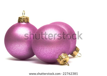 pink Christmas decoration balls isolated on white