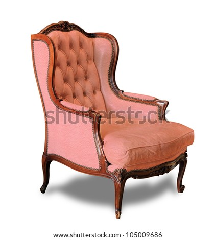 Pink classical leather sofa carved wood isolated on white background with clipping path