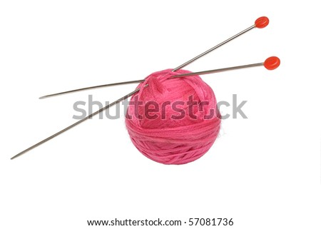 Pink clew and knitting needles with red plastic ends isolated on white background