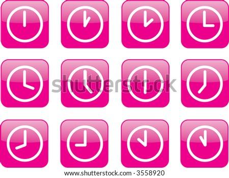 pink clock icons - stock photo