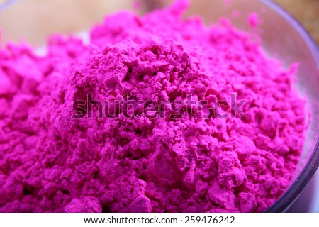 pink color in bowl for holi festival preparation