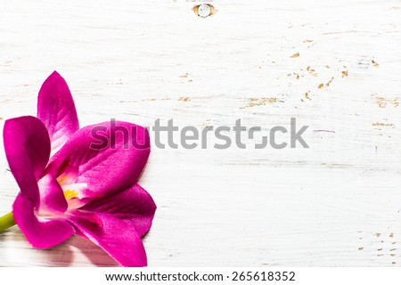 Pink color orchid flowers pattern on a white wood background, useful as invitations and greetings card