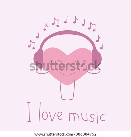 Pink colored heart with closed eyes and smile with headphones on it and many notes around it and lettering I love music isolated on pink background. Music fan concept. Logo template, design element - stock photo
