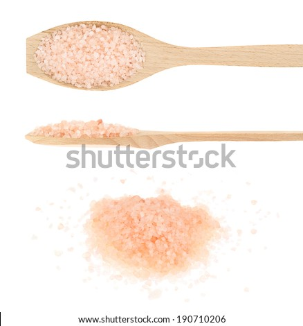 Pink colored salt crystals in multiple foreshortenings, isolated over the white background - stock photo