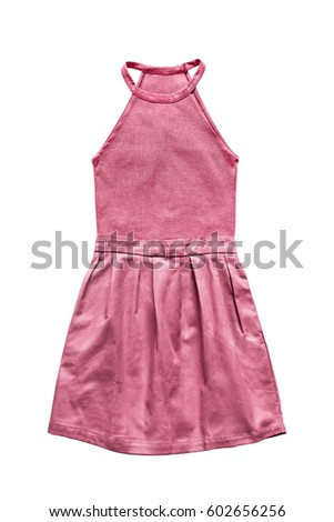 Pink combined halter mini dress isolated over white