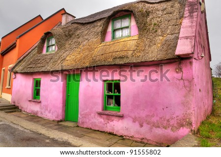 Pink cottage house in Doolin, Co. Clare, Ireland - stock photo
