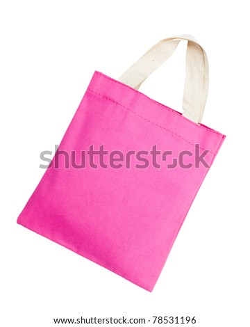 Pink cotton bag on white isolated background. - stock photo