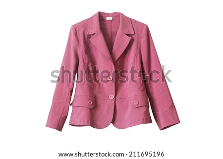 Pink cotton buttoned jacket isolated over white - stock photo