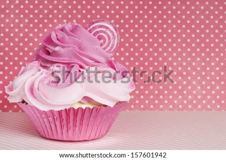 pink cotton candy land Valentine cupcake - stock photo
