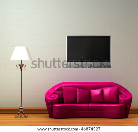 Tv Unit Living Room Yellow Tv Stock Illustration 504725788