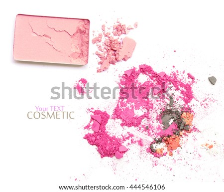 Pink crushed make up powder on white with brushes - stock photo