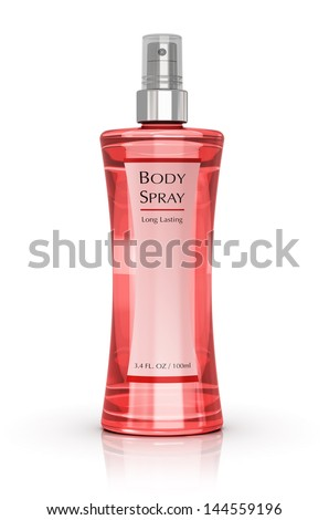 Pink crystal glass perfume bottle isolated on white background - stock photo