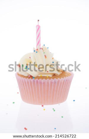 Pink Cupcake and white frosting
