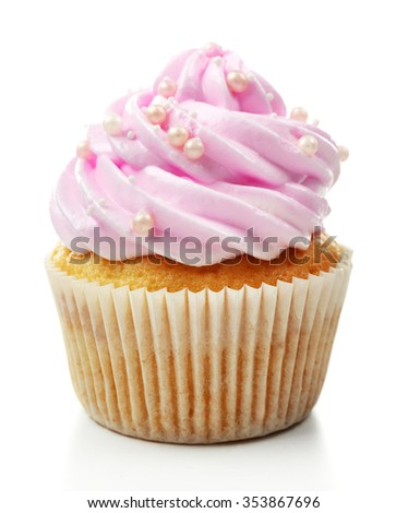 Pink cupcake isolated on white