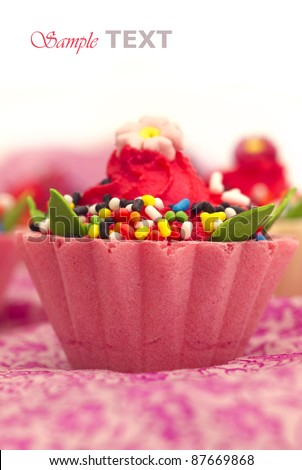 pink cupcake with place for the text - stock photo