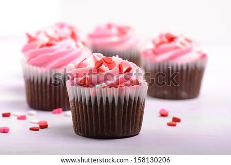 Pink Cupcakes - stock photo