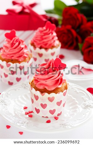 Pink cupcakes for Valentine's Day. - stock photo