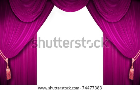 Pink curtain of a classical theater - stock photo