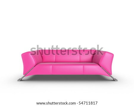 Pink 3d sofa, isolated on a white background - stock photo