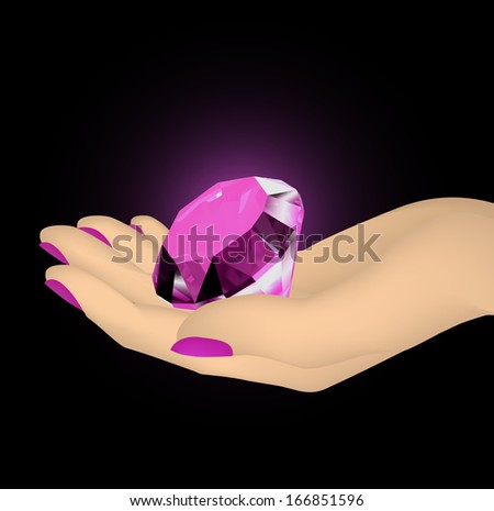 Pink diamond in the hands of women - stock photo