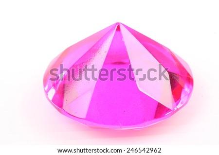 Pink diamond on a white background - stock photo