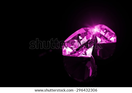Pink Diamond with light reflections on black background