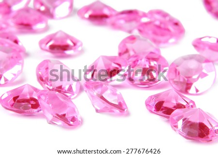 pink diamonds on white background - stock photo