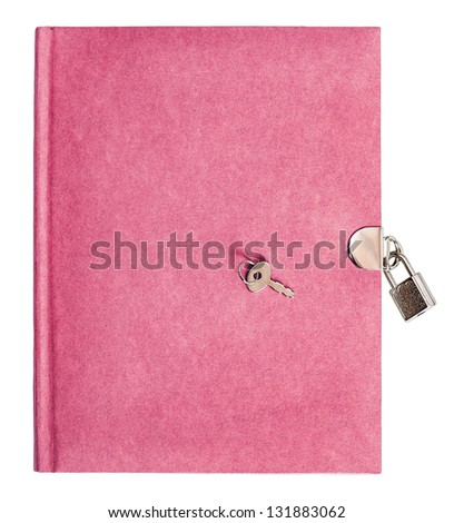 pink diary book with lock and key isolated on white background - stock photo