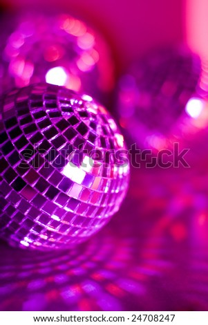 Pink disco balls - stock photo