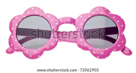 Pink Dot Child Size Sunglasses  Isolated on White with a Clipping Path. - stock photo
