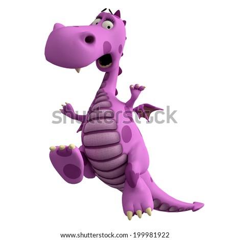 pink dragon crazy jump - stock photo