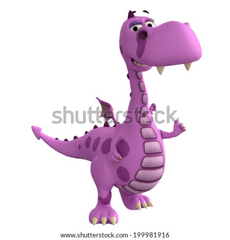 pink dragon is very happy - stock photo