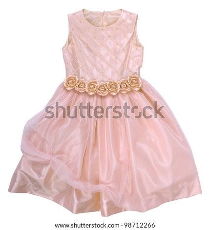 pink dress with roses - stock photo